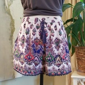 Angie Rayon Shorts with Mini Pompoms and Pockets